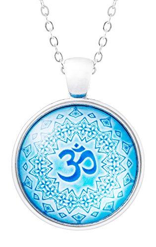 Klimisy - Mandala Om Azul - Collar Colgante con Impresionante Imagen Artística - Amuleto de Cristal en una Elegante Cadena Ajustable - En una Bonita Caja de Regalo