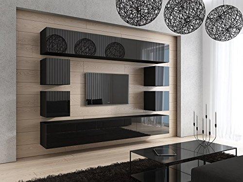 HomeDirectLTD Future 17 Moderne Wohnwand, Exklusive Mediamöbel, TV-Schrank, Garnitur, Große Farbauswahl (Schwarz MAT Base/Schwarz HG Front)