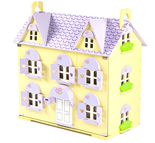 Berrybee Cottage Childrens Wooden Dolls House with Stairs and Curtains, Large Purple Doll House for Children