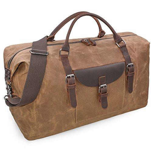 Reisetaschen Herren Leder Wasserdicht Canvas Weekender Tasche Großen Kapazität Reisetasche Unisex Vintage Handgepäck Bag Braun (Meisten Extreme Orte Die)