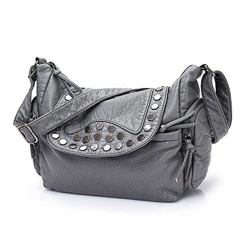 Meoaeo Moda In Pelle Borsetta Tracolla Diagonale Nero Del Pacchetto Light grey