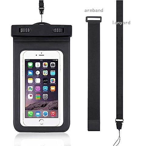WindTeco Certifiée IPX8 Pochette Sac étanche Universel Waterproof Case Bag Housse Coque Etui pour Smartphones de Taille Égale et Inférieure à 6'', idéal pour natation, la plage, pêche, la randonnée, (Noir1)