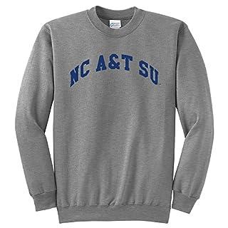 Campus Merchandise NCAA North Carolina A&T Aggies Arch Classic Crewneck Sweatshirt, Large, Light Heather Grey
