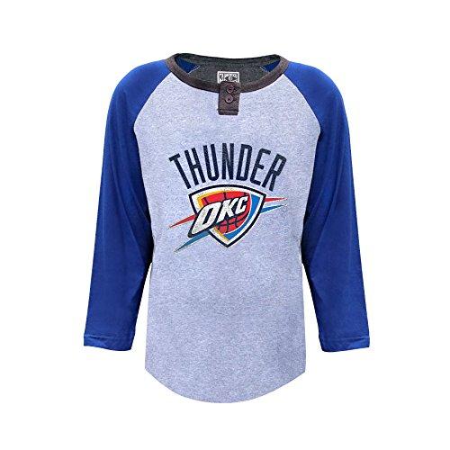 NBA Oklahoma City Thunder 3/4Sleeve Jersey Button Tee, X-Large, Saibling Heather/Royal -