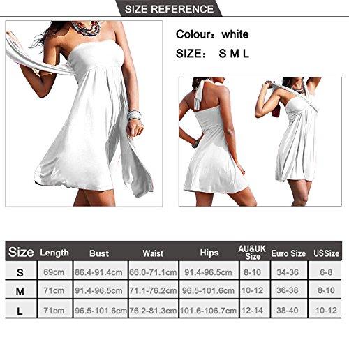 SiDiOU Group Art- und Weisefeiertags-Kleid für Frauen-reizvolles eingewickeltes Kasten-Kleid-Rock-Badeanzug-Badebekleidungs-Strand-Röcke Weiß