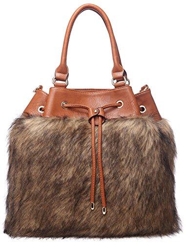 Big Handbag Shop in finta pelliccia da donna morbida maniglia superiore borsa a tracolla Taupe - Tan Trim (BH589)