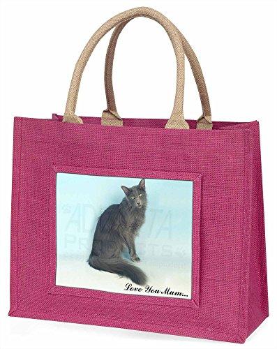 Advanta Javanese-Katze Love You Mum Große Einkaufstasche/Weihnachtsgeschenk, Jute, pink, 42x 34,5x 2cm -