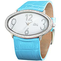 Moog Paris - Egg, ladies watch with White dial, blue strap - made in France - M44142-013
