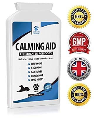 Natural Dog Calming Supplements for Dogs - 120 Non Drowsy Chicken Flavour Supplements - Can help Stress & Anxiety related to Fireworks, Grooming, Loud Noises, Car Journeys, Separation & Aggression by Furever Friendz Pet Supplies UK Ltd