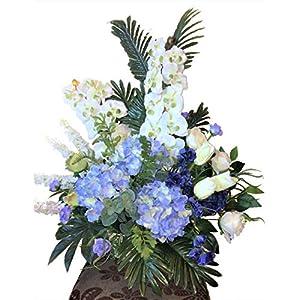 LBA Centro de Orquídeas Blancas y Hortensias Azules, Flores y Plantas Artificiales. Tanto para casa como para Cementerio. Med.: 85x85cms.