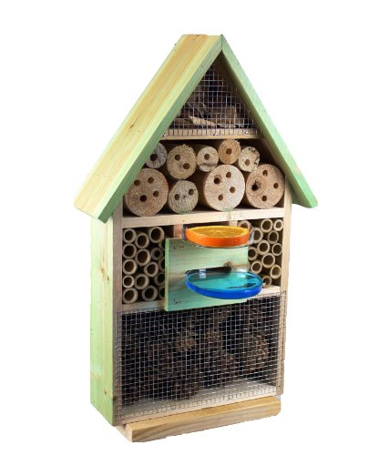 Insect Hotel With Drink Sd And Feeding House / Bird Feeder, Moss Green Butterflies, Bees As A Supplement To A Birds Nesting Box Meisenkasten Or Bird House Bird Feeder Feeding Station For Birds-insektenhotels, Insects, Plants-ladybird-up, Ladybirds, Butter