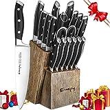 Emojoy Set Coltelli, Ceppo Coltelli in Legno Cucina 18 Pezzi, Set di Coltelli da Cucina Professionale con Acciaio Tedesco,