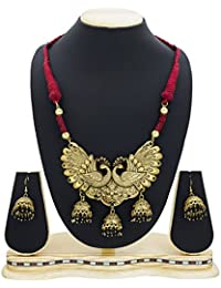 The Luxor Fashion Jewellery Gold Plated Peacock Jhumkhi Necklace Set For Women NK-2222