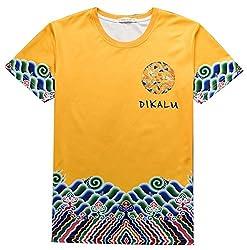 Pizoff Unisex Hipster Short Sleeve Crewneck 3D Digital Print T Shirts Summer Tops