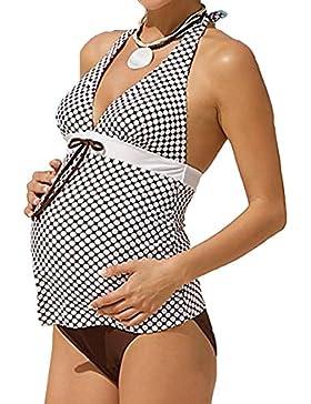 Gagacity Costumi da Bagno Premaman Tankini Donne Vintage Ruched Collo Halter Bikini Costume da Bagno Due Pezzi