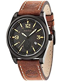 amazon co uk timberland watches timberland men s quartz watch black dial analogue display and brown leather strap tbl 14641jsb 02