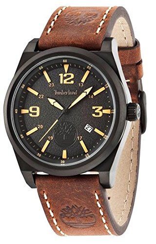 Timberland Men's Quartz Watch with Black Dial Analogue Display and Brown Leather Strap TBL.14641JSB/02