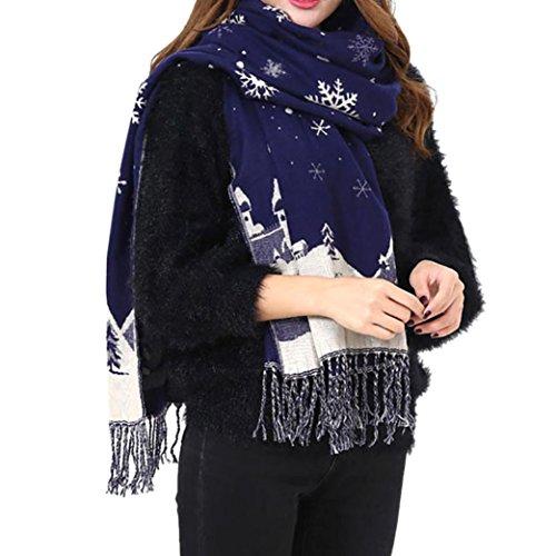 Damen Schal Xinan Women Scarf Winter Imitation Kaschmir Weihnachten Schneeflocken Warme Schals (180*65cm, Marine) (Accessoires Klassische Jacke)