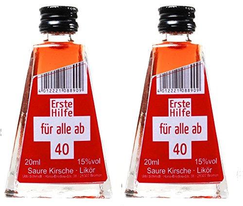 """2 x 20 ml Saure Kirsch Likör """"Erste Hilfe für alle ab 40"""" 15%vol"""
