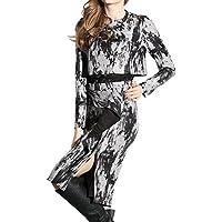 Oulu® Donne Scollo a sottile Vintage abito grigio corto OW272565
