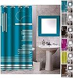 "MSV Anti-Schimmel Textil Duschvorhang - Anti-Bakteriell mit 12 Duschvorhangringen - Polyester, ""Graphics"" Blau, 180x200cm"