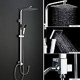 BONADE Duschset ohne Armatur Duscharmatur inkl Handbrause Regendusche Duschbrause Shower Set Chrom [Regendusche ohne Wasserhahn]