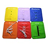 MagiDeal Set of Kids Childrens Learn To Zip Button Snap Buckle Tie Lace Plate Educational Toy