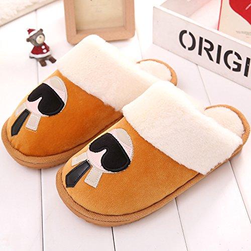 DogHaccd pantofole,Pantofole di cotone femmina SOGGIORNO DI CASA AUTUNNO INVERNO piscina caldo inverno giovane Cartoon carino pantofole in lana di uomini e donne. Signor Wong1