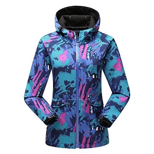 emansmoer Femme Veste Softshell Doublé Polaire Coupe-Vent Imperméable Outdoor Sport Camping Randonnée Escalade Veste (XXX-Large, Bleu)