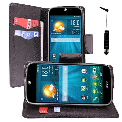Vcomp Acer Liquid Jade S S56Video: tessuto effetto PU Pelle Portafoglio Custodia Con Supporto e Penna, colore: nero