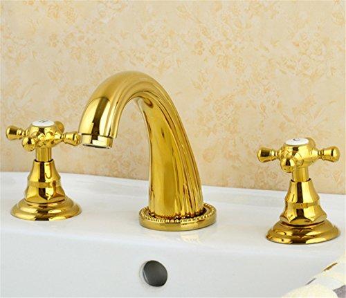 Preisvergleich Produktbild Alle Kupfer antik Hahn 3 - Loch Waschtisch Armatur mit heißen und kalten Wasserhahn im Waschbecken wasserhahn Griff, Badezimmer Armatur d