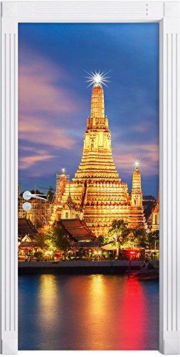 Preisvergleich Produktbild Wat Arun Nachtansicht Tempel Bangkok Thailand als Türtapete,  Format: 200x90cm,  Türbild,  Türaufkleber,  Tür Deko,  Türsticker