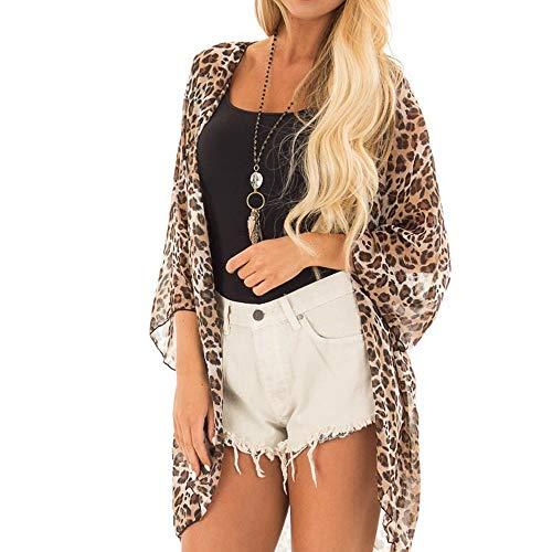 Deloito Damen Leopard-Druck Mantel Halbe Hülse Cardigan Bluse Öffnen Vorderseite Jacke Lässige Tops (Braun,X-Large) -