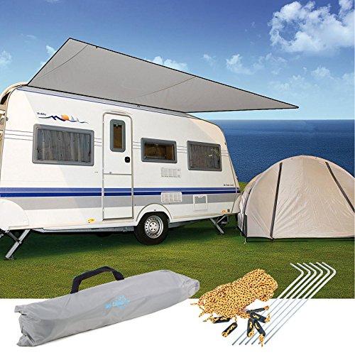 Sonnensegel für Wohnwagen & Wohnmobil grau 3,50 x 2,4 , für Kederleisten 7 mm,Wassersäule 2000 mm - 2