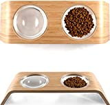 "Elevated Dog & Cat Bowls by Fox & Fern - Whisker Fatigue Proof - 4"" Raised Pet Feeder from Bamboo Wood - Cats and Small Dogs Feeding Station - Mid Century Modern - Smooth version"