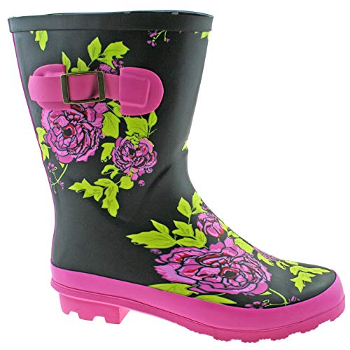 Woodland Ladies Black/Multi Mid Calf Rubber Wellington