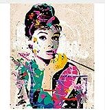 Wall Decor Bilder Malen nach Zahlen Handbemalt auf Leinwand Gemälde Audrey Hepburn Moderne abstrakte Ölgemälde 40x50cm gerahmt