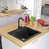 tidyard Fregadero de Cocina de Granito con un Seno de Resistente al Calor hasta 280 °C 565 x 510 x 306 mm Negro