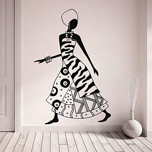 42X63cm Afrikanische Frau Aufkleber, Stammes-Afrika-Thematische Vinyl-Aufkleber, Mode Schwarze Frauen Tänzerinnen Abziehbilder, Tribal Decor Diy Wandbilder