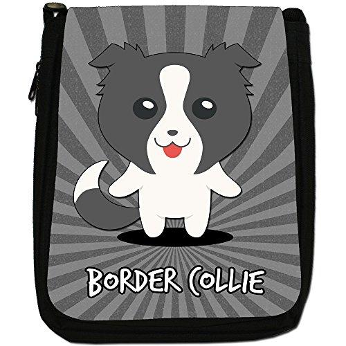 Scozzese Cartoon cani medium nero borsa in tela, taglia M Border Collie