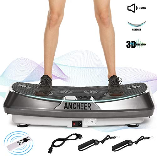 ANCHEER 3D Vibrationsplatte mit 2 Leisen Motoren, Fitness Vibrationsgeräte mit 3D Wipp Vibrations Technologie, Einmaligen Curved Design, Color Touch Display, Trainingsbänder, Fernbedienung (Grau)