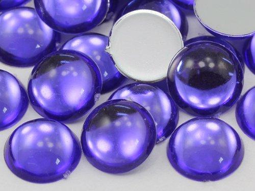 Violet 18 mm .VT plat arrière Cabochon rond en acrylique haute qualité Pro - 30 pièces