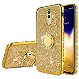 QPOLLY Kompatibel mit Huawei Mate 20 Lite Hülle Bling Glitzer Strass Diamant Kristall Überzug TPU Silikon Schutzhülle mit 360 Grad Ring Ständer Tasche Handyhülle für Huawei Mate 20 Lite,Gold
