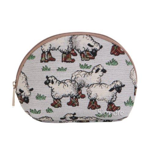 Borsa donna di Signare per il trucco in tessuto stile arazzo alla moda Animali Pecore