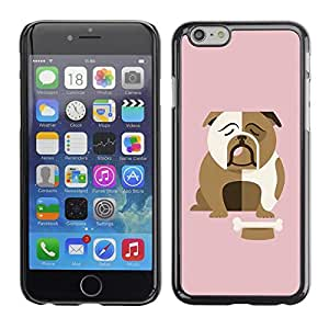 Omega Covers - Snap on Hard Back Case Cover Shell FOR Iphone 6/6S (4.7 INCH) - Bulldog British English Cartoon Pink