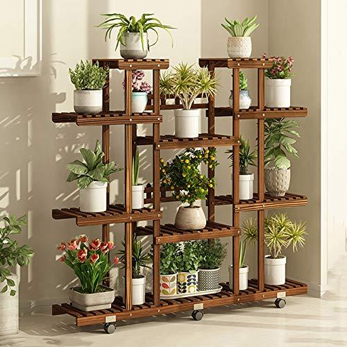 Scaffale Espositore Flower Herb Fioriera legno massello con ruota staccabile 6 strati Landing Piante grasse Espositori per piante Stand per fiori