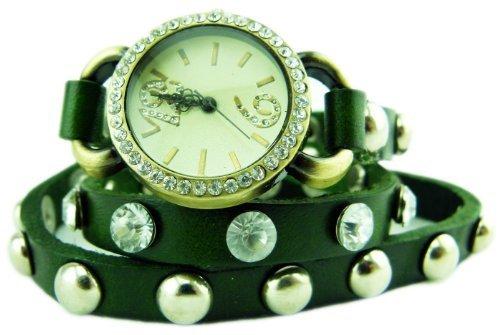 Damenuhr-Wickelarmband-Uhr-Armbanduhr-Strass und Nieten GRÜN U65-1