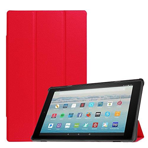 Fintie Hülle für Amazon Fire HD 10 Tablet (10-Zoll, 7. Generation - 2017) - Slim Cover Lightweight Schutzhülle Tasche mit Standfunktion und Auto Schlaf/Wach Funktion, Rot (Cover Für Tablet, Amazon Fire Hd 7)