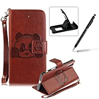 Wallet Case for Sony Xperia XZ,Flip Case with Strap for Sony Xperia XZ,Herzzer Book Style Cute Brown Panda Pattern Magnetic Stand Card Holder Case with Soft Inner for Sony Xperia XZ + 1 x Free Black Cellphone Kickstand + 1 x Free Black Stylus Pen