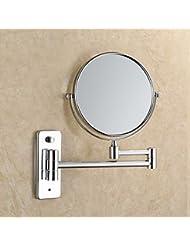 Bluelover Acero inoxidable bano flexible plegable pared espejo doble cara girada espejo cosmetico